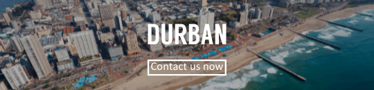 Durban skyline with contact button