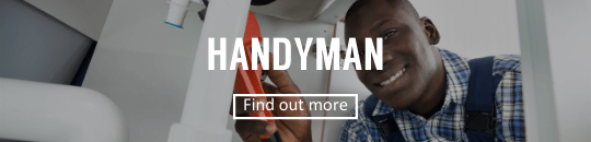 Handyman fixing plumbing with find out more button