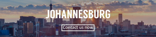 Johannesburg skyline with contact button