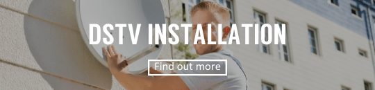 Man installing DSTV satellite dish with find out more button