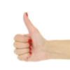 Female thumbs up with red nail polish