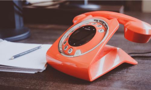 Orange, retro phone